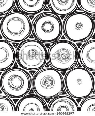 Black and white doodle round seamless - stock vector