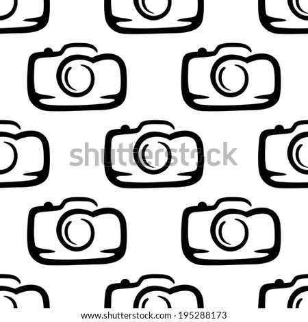 Black and white  doodle sketch seamless pattern of a compact camera in square format - stock vector