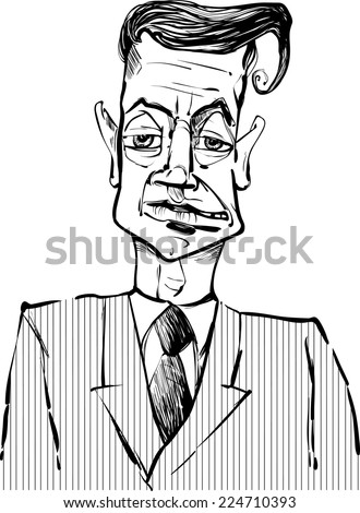 Black and White Drawing Vector Illustration of Man i Suit Caricature Sketch - stock vector
