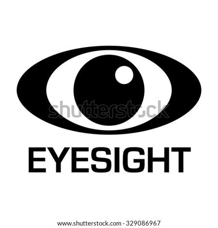 Black and white eyesight logo with simple illustrated design - stock vector