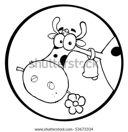 Black And White Farm Cow Munching On A Flower In A Circle - stock vector
