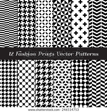 Black and White Fashion Prints Patterns. Houndstooth, Herringbone, Triangle, Cross, Lattice, Polka Dot and Chevron Geometric Backgrounds. Vector EPS Includes Pattern Swatches Made with Global Colors. - stock vector