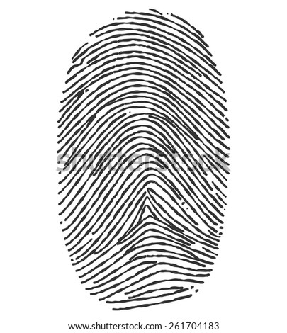 Black and White Fingerprint  - Illustration - stock vector