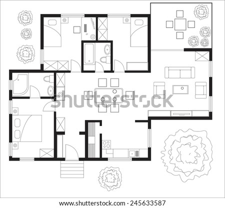 Black and White floor plan of a house. - stock vector