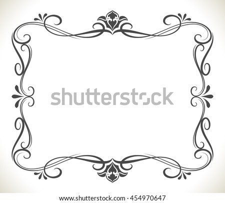 Black and white floral frame with copy space vector background. Beautiful greeting card or invitation template. - stock vector