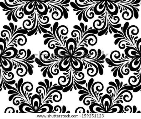 black and white floral seamless pattern.  - stock vector