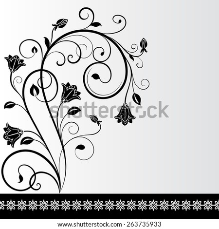 Black and white flower card design with copy space.  - stock vector