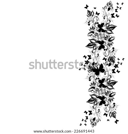 Black and white flowers with butterflies. Vector  - stock vector
