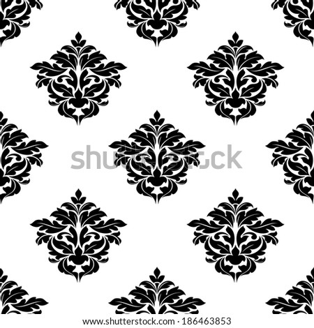 Black and white foliate motif in a seamless pattern suitable for damask style arabesque wallpaper or fabric design - stock vector