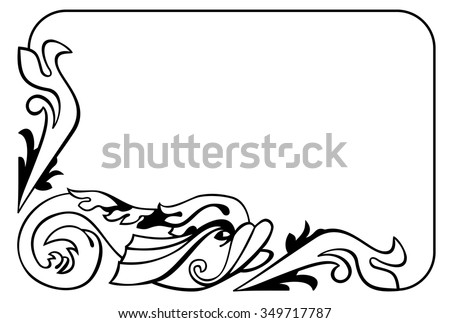 Black and white frame with decorative fish in medieval style - stock vector