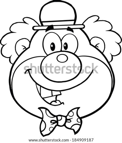 Black and White Funny Clown Head Cartoon Character. Vector Illustration Isolated on white - stock vector