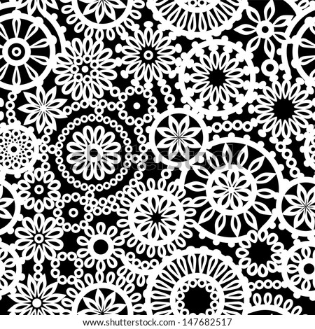 Crochet Stitches Vector : ... crochet circle flowers seamless pattern, vector - stock vector