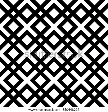 Black and white geometric pattern with interlocking squares - stock vector