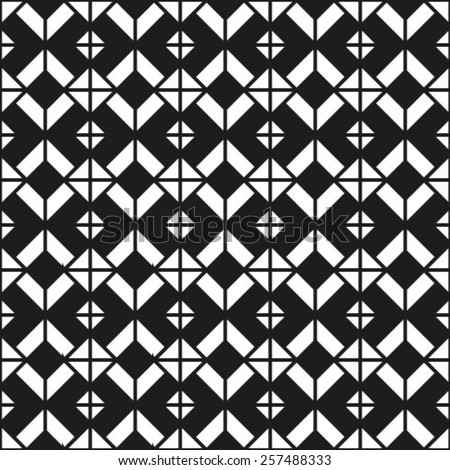 Black and white geometric seamless pattern, symmetric endless vector background. Monochrome abstract crossing concept covering. - stock vector