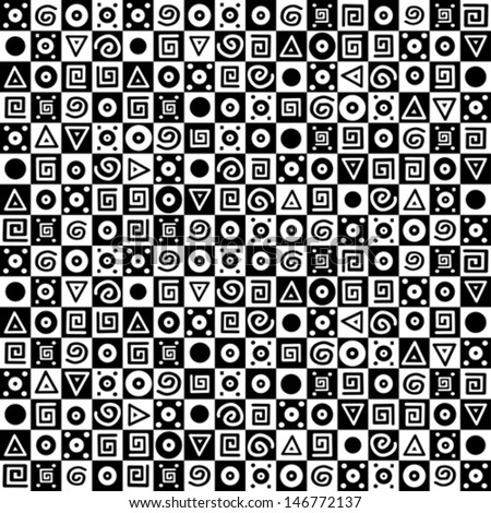 Black and white geometric seamless pattern. Vector Illustration  - stock vector