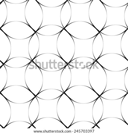 Black and white geometric seamless pattern with circle, abstract background, vector, illustration. - stock vector