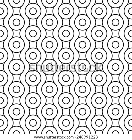 Black and white geometric seamless pattern with circle and wave line, abstract background, vector, illustration. - stock vector