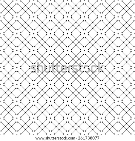 Black and white geometric seamless pattern with dot and line. Abstract background. Vector seamless pattern. - stock vector