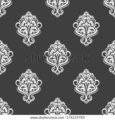 Black and white geometric seamless pattern with floral motifs in a diamond arrangement in square format, vector illustration - stock vector