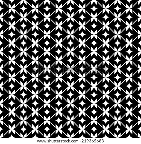 Black and white geometric seamless pattern with line, abstract background, vector, illustration. - stock vector