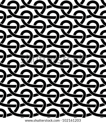 Black and white geometric seamless pattern with netting lines. Vector background single color and single shape. - stock vector