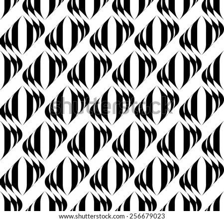 Black and white geometric seamless pattern with wavy stripe, abstract background, vector, illustration. - stock vector