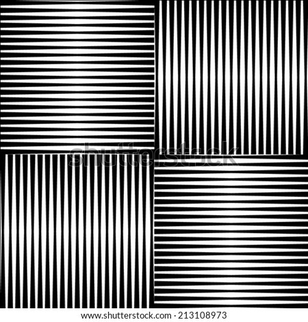 Black and white geometric seamless patterns. - stock vector