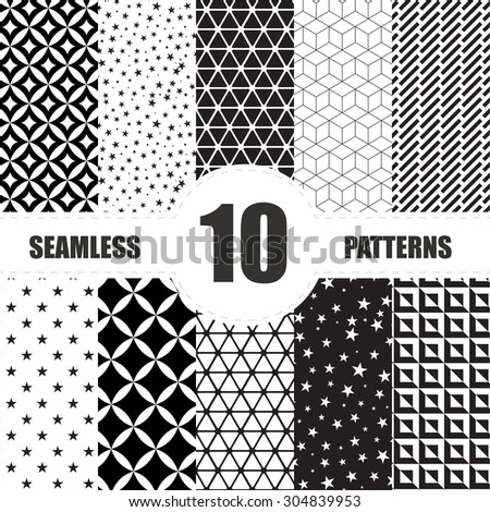 Black and White Geometric Seamless Patterns set - stock vector