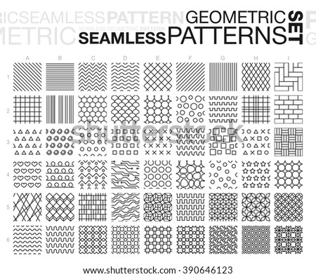 Black and white geometric seamless patterns. Thin line monochrome tiling textures set. Vector illustration. - stock vector