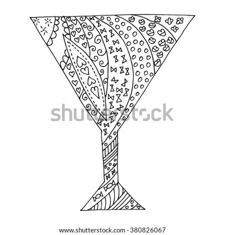 Black and white glass zen tangl, zen dudl. Glass tattoo, a glass vector. - stock vector