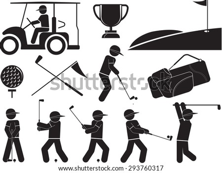 Black And White Golf Icons Set - stock vector