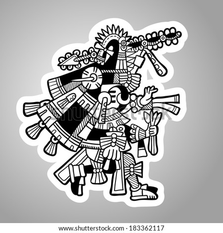 Black and white graphic image of the Maya. Maya designs. Maya design elements. - stock vector