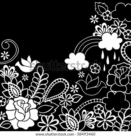 Black and White Groovy Flower Garden Doodles with Doves and Rainbow- Vector Illustration - stock vector