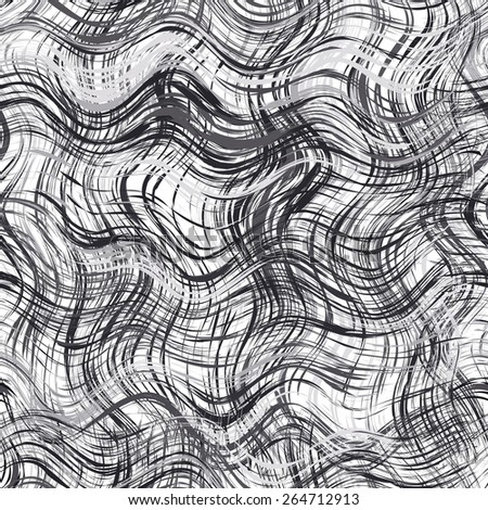 Black and white grunge striped and wavy seamless pattern - stock vector