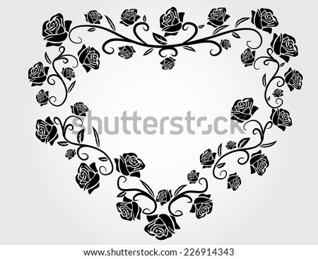 black and white heart with roses isolated illustration - stock vector