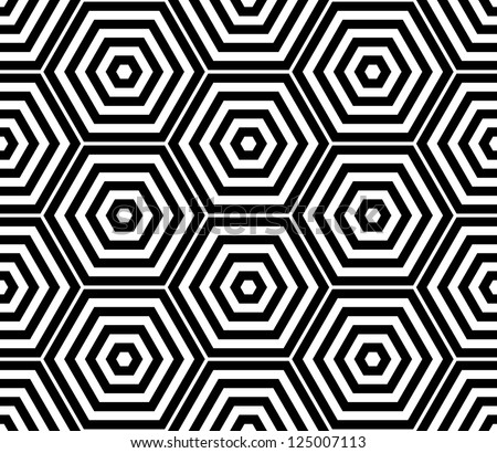 Black and white hexagon seamless pattern background - stock vector