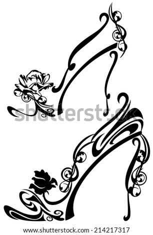 black and white high heel shoes with rose flowers - decorative vector design - stock vector