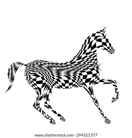 Black and white horse`s silhouette with chess board texture. Vector. - stock vector