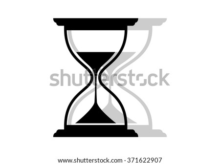 Black and white hourglass icon on white background   - stock vector