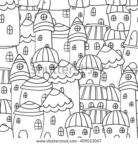 Black and white houses, seamless pattern in vector in doodle, zentangle style.Pages for adults coloring book. - stock vector
