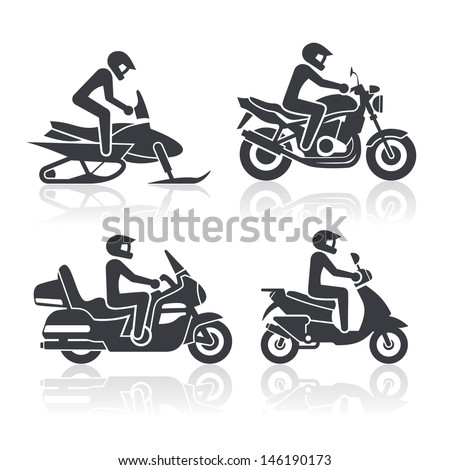 Black and white icons of motorcycles  - stock vector