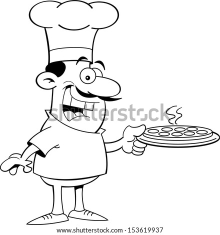 Black and white illustration of a chef holding a pizza - stock vector