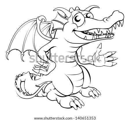 Black and white illustration of a happy cartoon dragon - stock vector