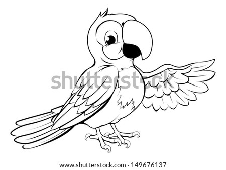 Black and white illustration of a happy cartoon parrot pointing its wing - stock vector
