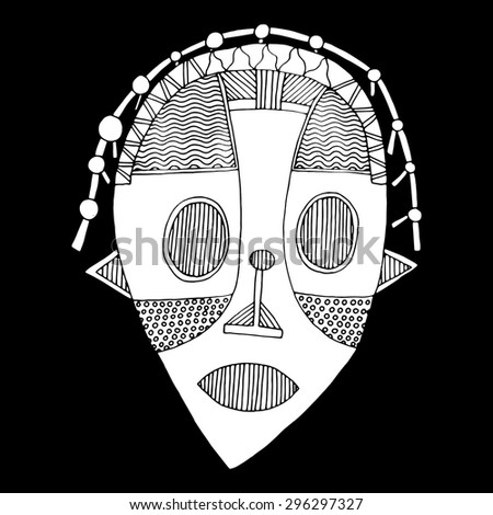Black and white illustration of African mask - stock vector