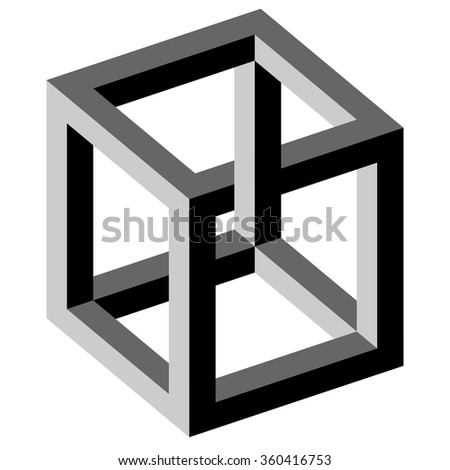 black and white illustration of phenomenal optical illusion - stock vector