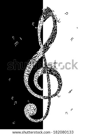 Black and white illustration of treble clef. G clef of music elements. vector illustration. - stock vector
