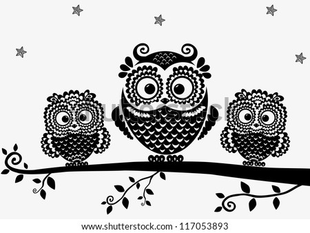 black and white illustration vintage owl fairy tale ... Baby Owl Black And White