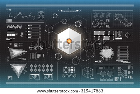black and white infographic elements. futuristic user interface HUD - stock vector