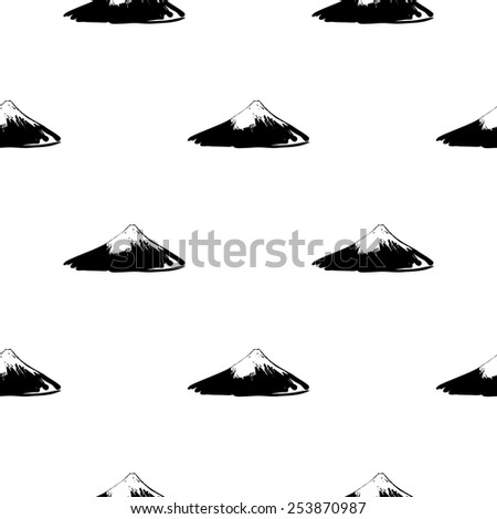 Black and white ink hand drawn brushstroke Fuji. Set of isolated japanese national symbols and elements. Chess grid order pattern. - stock vector